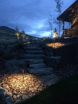 Rock steps and outdoor lighting