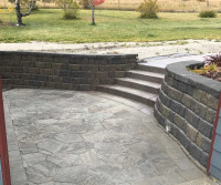 Retaining wall, steps and landing